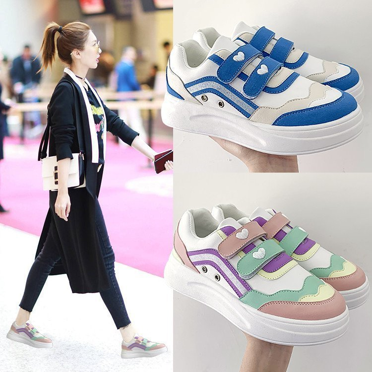 Women's shoes autumn boutique new ultra-light soles women's mid-heel velcro sweet and comfortable sports shoes trend hot sale
