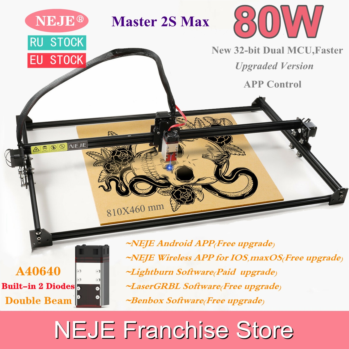 NEJE Master 2S Max 80W CNC Double beam Laser Engraver Cutter Engraving Cutting Machine Bluetooth LaserGRBL Lightburn 460X810mm neje master 2s max 80w cnc double beam laser engraver cutter engraving cutting machine bluetooth lasergrbl lightburn 460x810mm