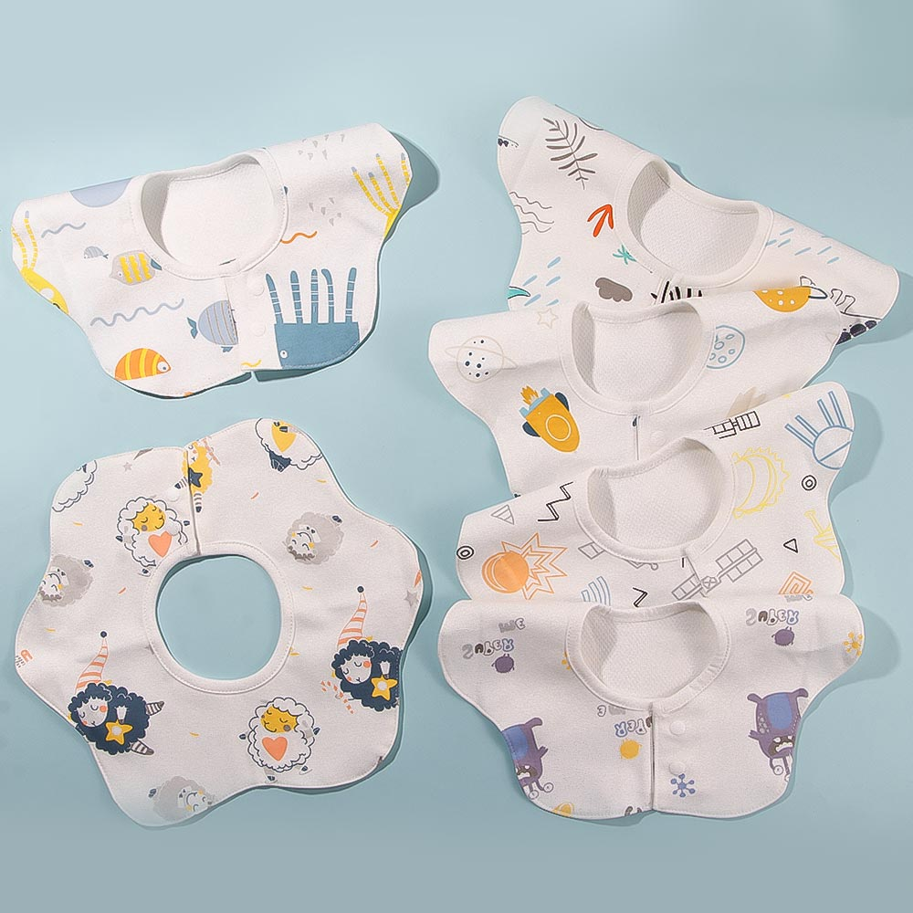 Nova moda babadores de bebê algodão dos desenhos animados pano à prova dwaterproof água saliva toalha girando alimentação do bebê bata bandana babadores