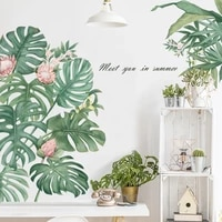 removable wall stickers monstera leaves tropical palm leaves green plants door stickers waterproof wall paper modern art decal