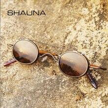 SHAUNA Punk Styles femmes petites lunettes de soleil ovales mode hommes pince amovible double usage bleu miroir/clair lentille lunettes UV400