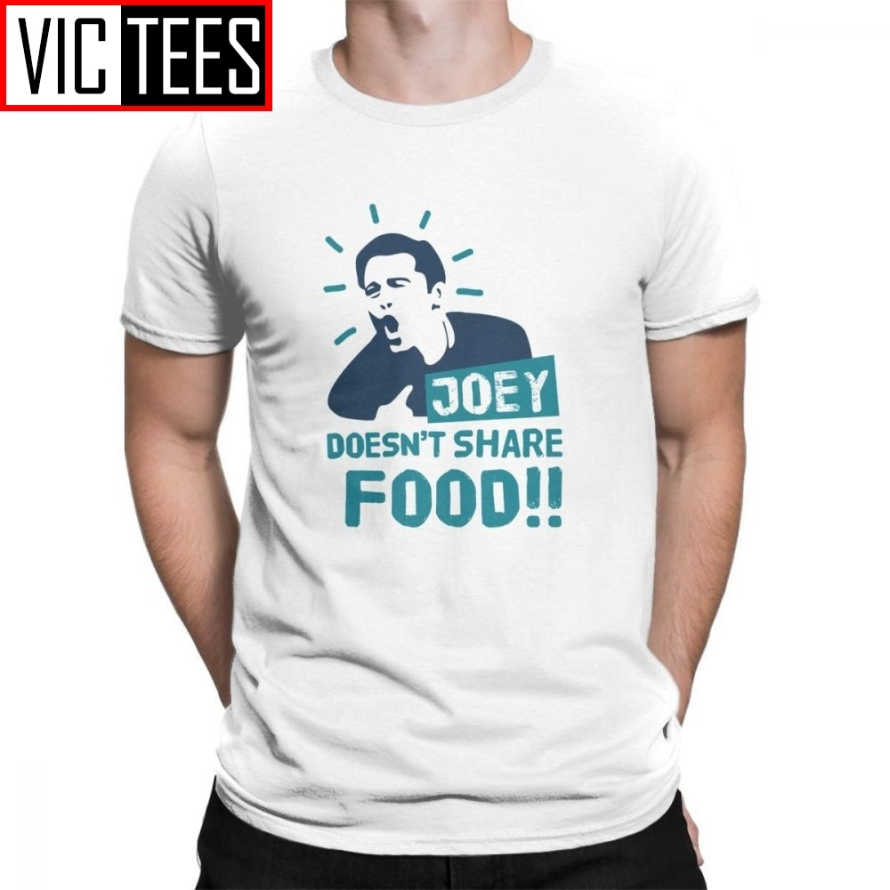TV T Shirt Show Friends Joey Doesn't Share Food Round Neck Vintage Tees Men T-Shirts Short Sleeves Plus Size 100% Cotton pink plain round neck long sleeves tassel hem t shirts