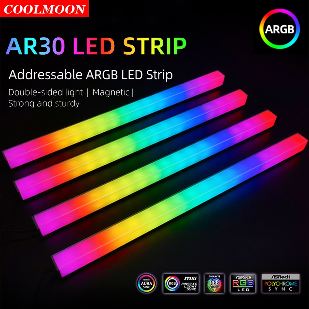 Coolmoon 30cm 5V 3Pin/Small 4Pin Double-sided RGB LED Strip Light PC Case Computer Chassis Magnetic Color Atmosphere Lamp