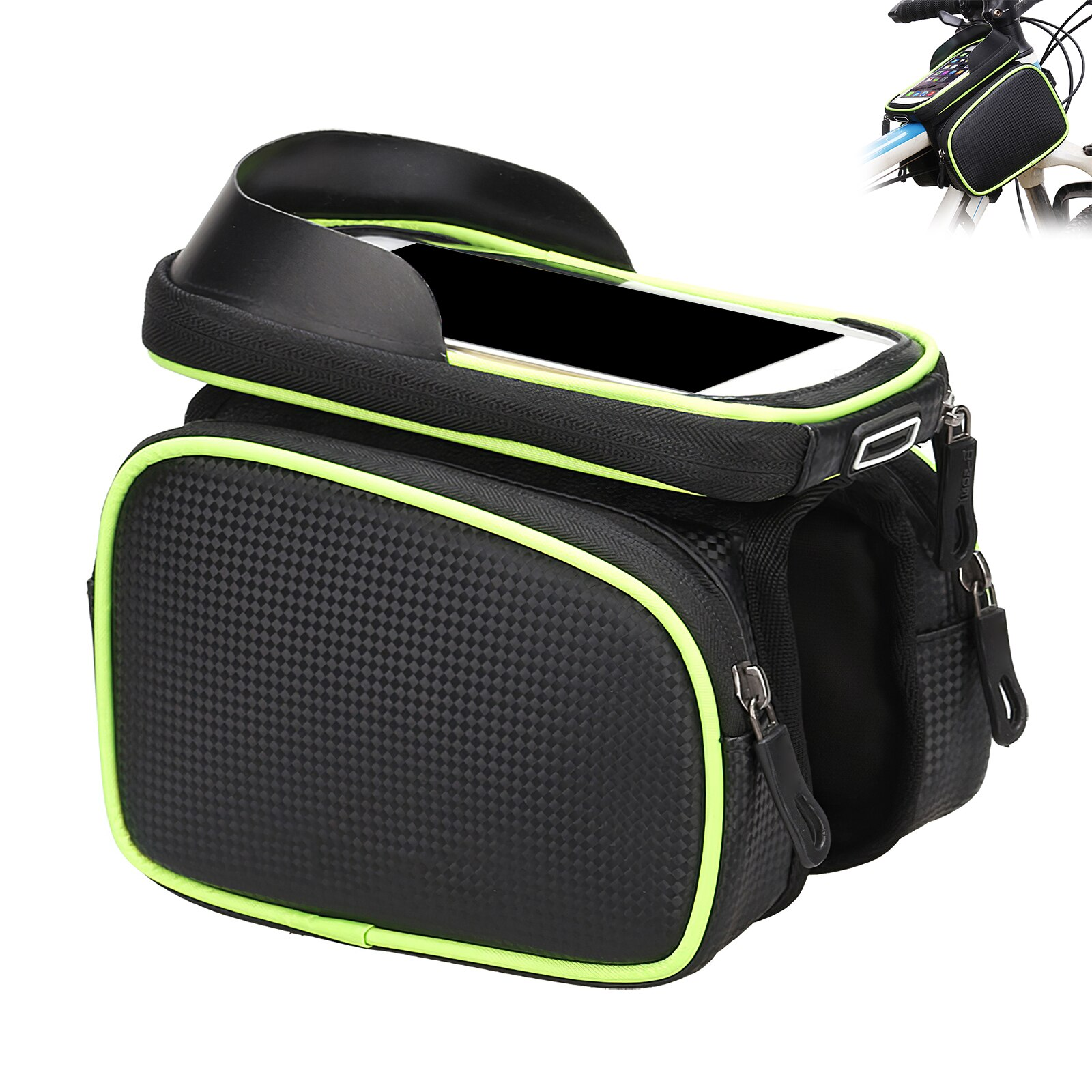 Bicycle Front Frame Bag Rainproof Bicycle Front Touch Screen Mobile Phone Bag Mountain Bike Top Tube Bag Bicycle Riding Bag bicycle front bag large capacity multi function front head bag folding bike electric car bag rainproof cover