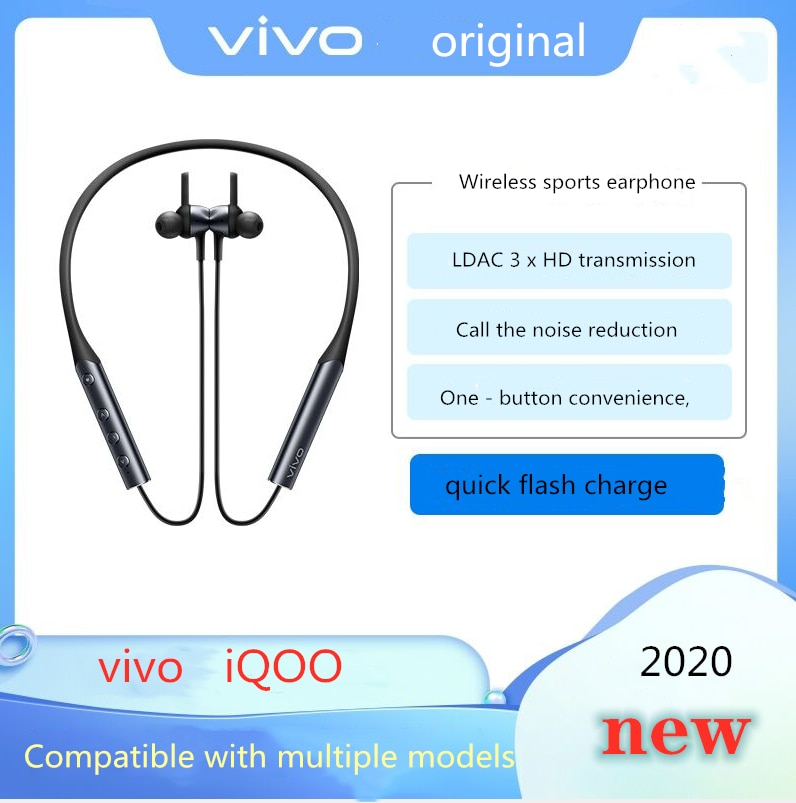 Novo sem Fio Fone de Ouvido tipo Pescoço Compatível com Iphone Original Vivo Iqoo Bluetooth Esportes