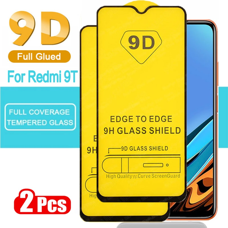 2pcs 9D Full Glued Tempered Glass For Xiaomi Redmi 9T Glass Note 9T 8T Protective Screen Protector For Mi 9T Mi9T