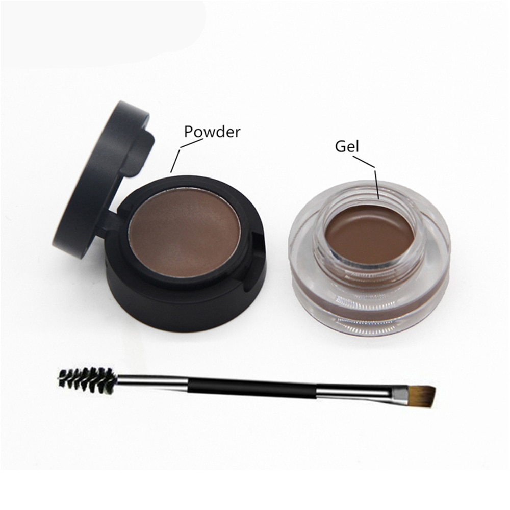 SANIYE 2 в 1 водонепроницаемый BrowGel пудра для бровей Гель для бровей крем с кисточкой карандаш для бровей косметические тени для бровей Помпона