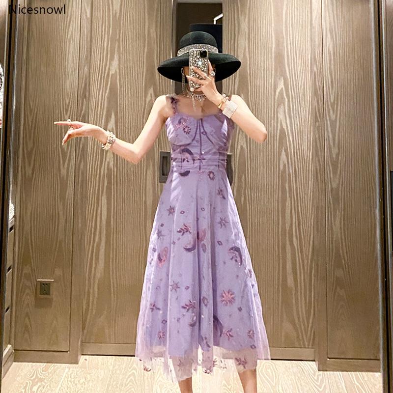 Luxe doux broderie lune étoile paillettes maille robe violet fête robe de nuit femmes Sexy Spaghetti sangle robe Midi