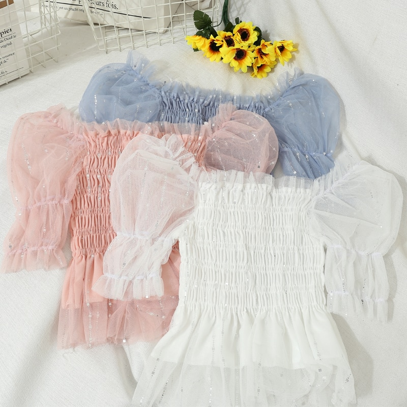 Summer Women Flare Sleeve Slash Neck Pleated Ruffles Shirt Lady Short Elastic Mesh Gauze Chic Bling Sequined Chiffon Blouse Tops