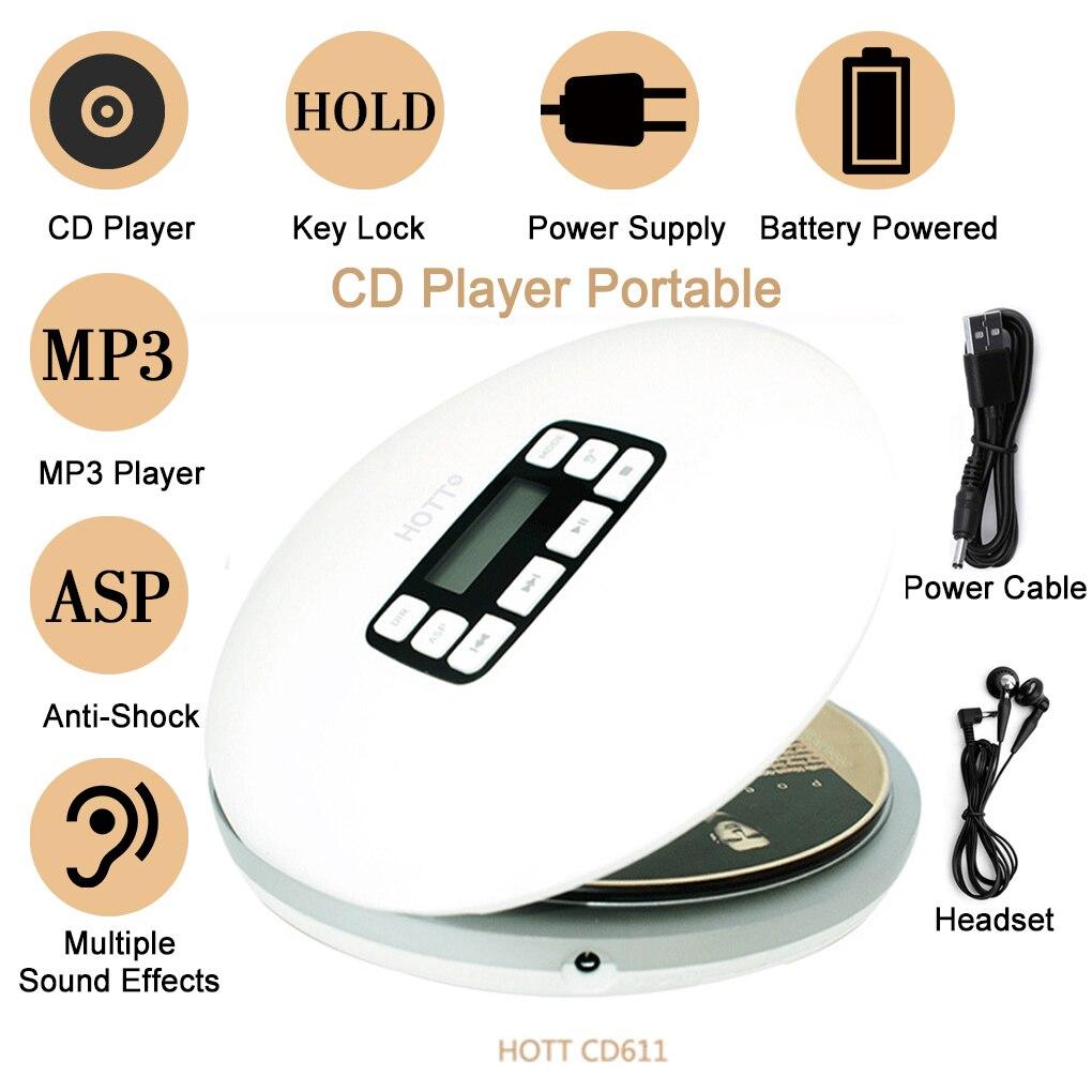 CD611 المحمولة مشغل أقراص مضغوطة شاشة الكريستال السائل مكافحة تخطي صدمات سيارة ستيريو AUX مشغل MP3 استبدال لسماعة