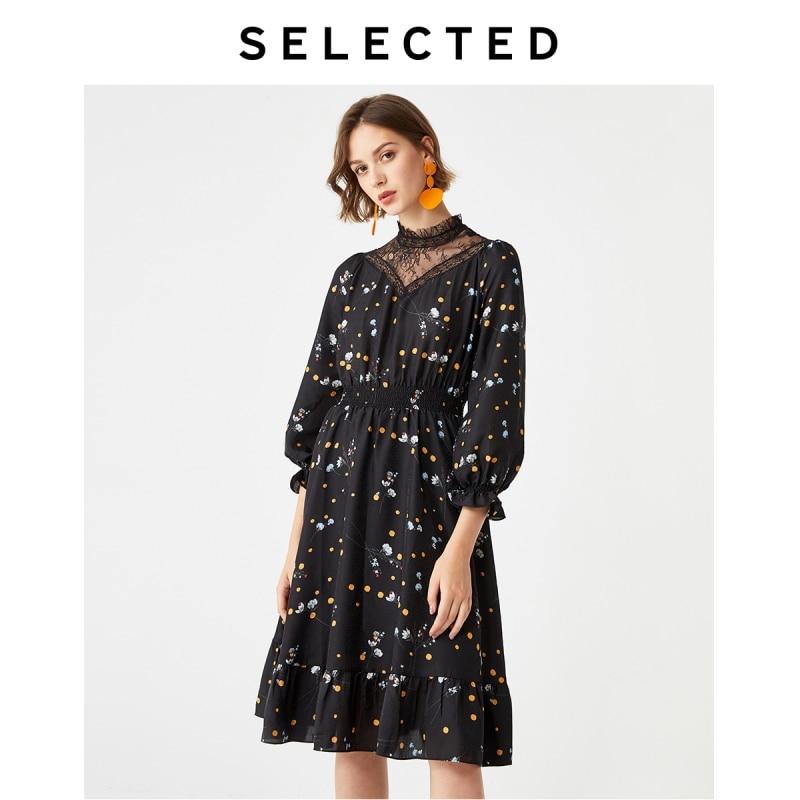 SELECTED Women's Slim Fit Printed Elegant Lace A-Line Dress S 41942J501