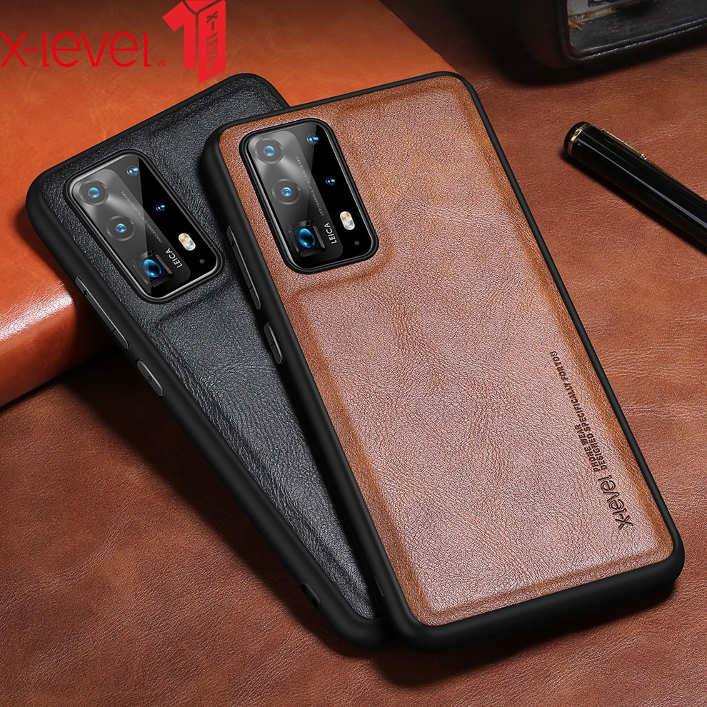 X-Level Leather Case For Huawei P40 Pro Plus P30 Original Soft Silicone Edge Back Phone Cover For Hu