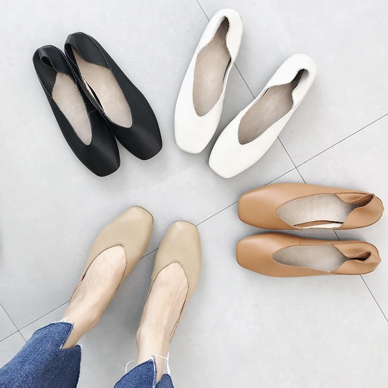 حذاء موكاسين من الجلد الطبيعي بمقدمة مربعة للنساء ، حذاء مسطح عالي الجودة ، كاجوال ، باليه ، مقاس كبير 40 ، ربيع 2020