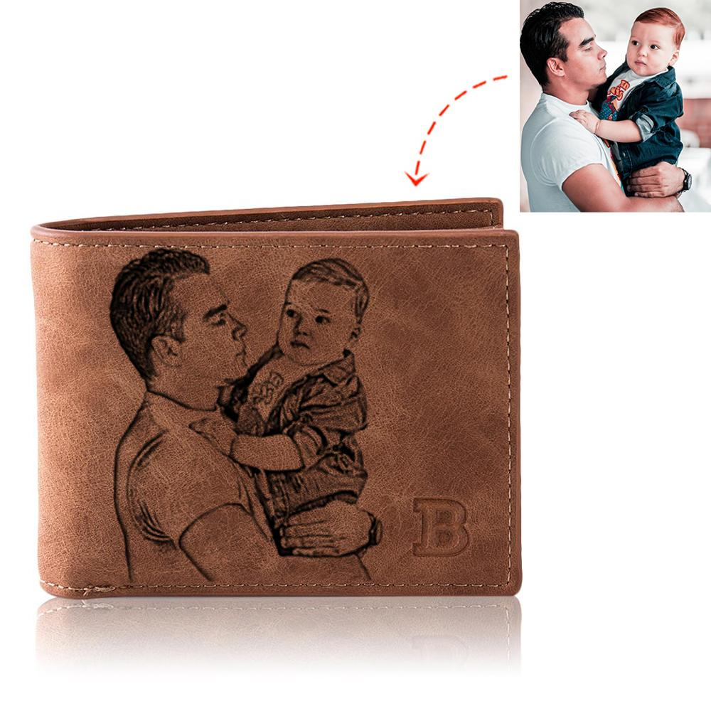 Photo Wallet Men Retro Customize Multifunction Short Pu Leather Bifold Customized Picture Carving Te