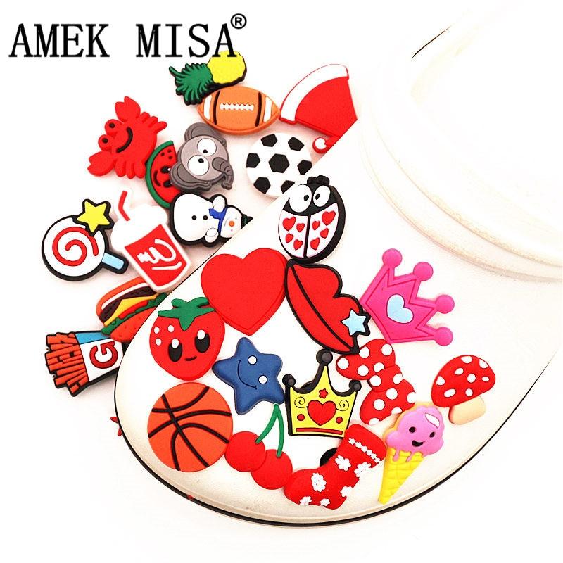 Single Sale 1pc PVC Shoe Charms Animals Ball Cherry Lollipop Starfish Shoe Buckle Decoration for croc jibz Kids Party X-mas Gift