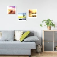 scandinavian travel landscape canvas painting boat on lake nordic poster print wall art picture modern living room decor