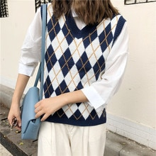 Women Sleeveless Pullover 2020 England Style Vintage Geometric Rhombic V Neck Knitted Sweater Vest Knitwear Waistcoat T441