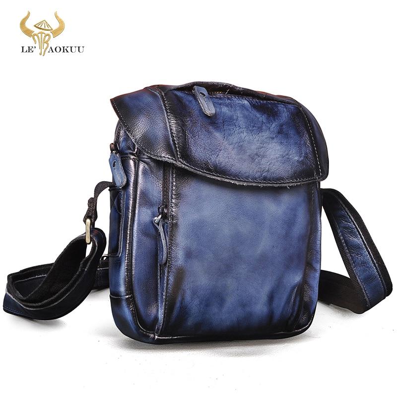 Natural Leather Male Men's Design School Over The Shoulder Crossbody bag Fashion College 10