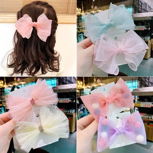 Girls Lace Mesh Solid Bow Hairpins For Children Clips Fairy Princess Barattee Barrette Hair Accessories