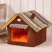 Niche amovible pour chiens   Niche rayée pour chiens, tapis pour petits chiens moyens, produits danimaux domestiques, niche chaude en velours pour chat