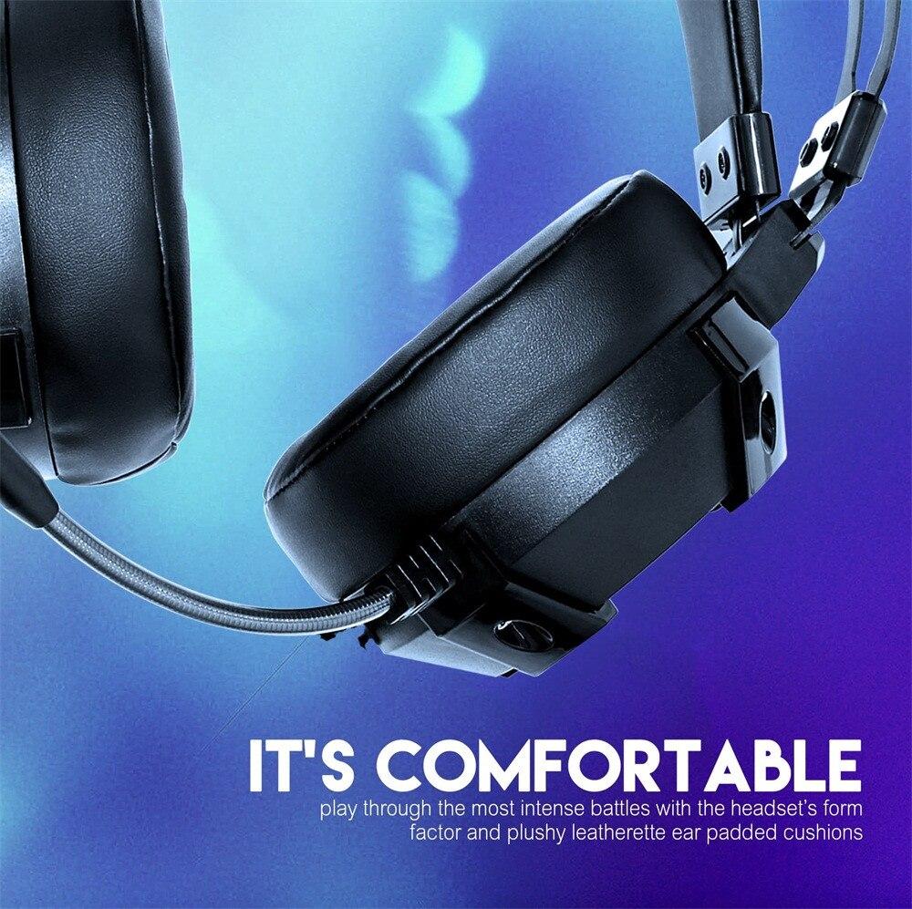 7,1 canales virtuales sonido envolvente para Gaming auriculares estéreo LED con micrófono para ordenador portátil incorporado Audio de pista de 7,1