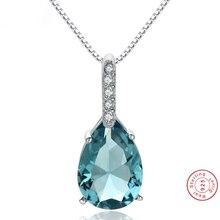 Pure Natural Blue Topaz Pendant 925 Sterling Silver Color Carat Necklace Colgantes Wedding Bizuteria pierscionki Pendant