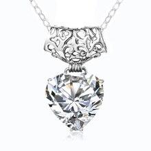 Collier pendentif grand cœur en Zircon 15mm, véritable argent Sterling 925, AAAAA, pour femmes, bijoux de mariée