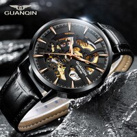 Guanqin Mechanical Watch Men Automatic Skeleton Movement Business Wirstwatch Top Brand Luxury Clock Waterproof relogio masculino