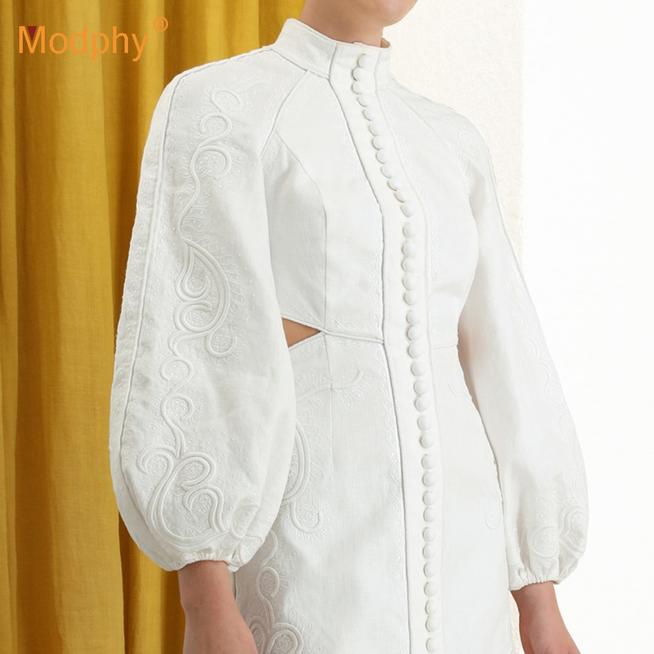 Heavy Industry-vestido blanco bordado, minivestido Sexy de manga larga, ajustado, con botones, ajustado, elegante para verano 2020