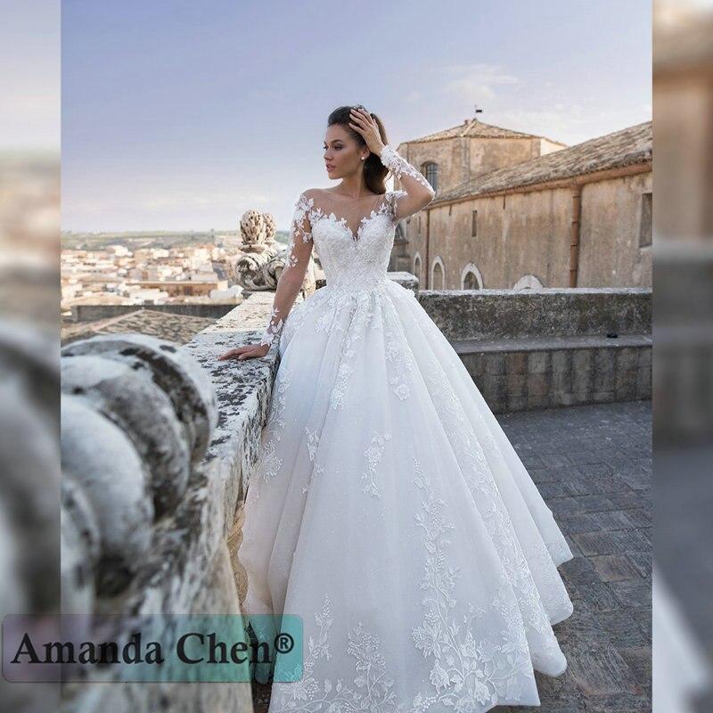 فستان زفاف بأكمام طويلة مزين بالدانتيل ، 2019