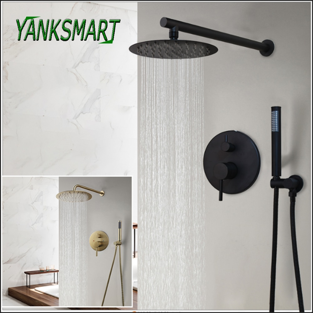 YANKSMART Wall Mounted Bathroom Shower Faucet Set Concealed Rainfall Shower System Bathtub Shower Mixer Tap Combo Kit Faucet bakala bathroom led shower set 2 functions led digital display shower mixer concealed shower faucet 8 inch rainfall shower head