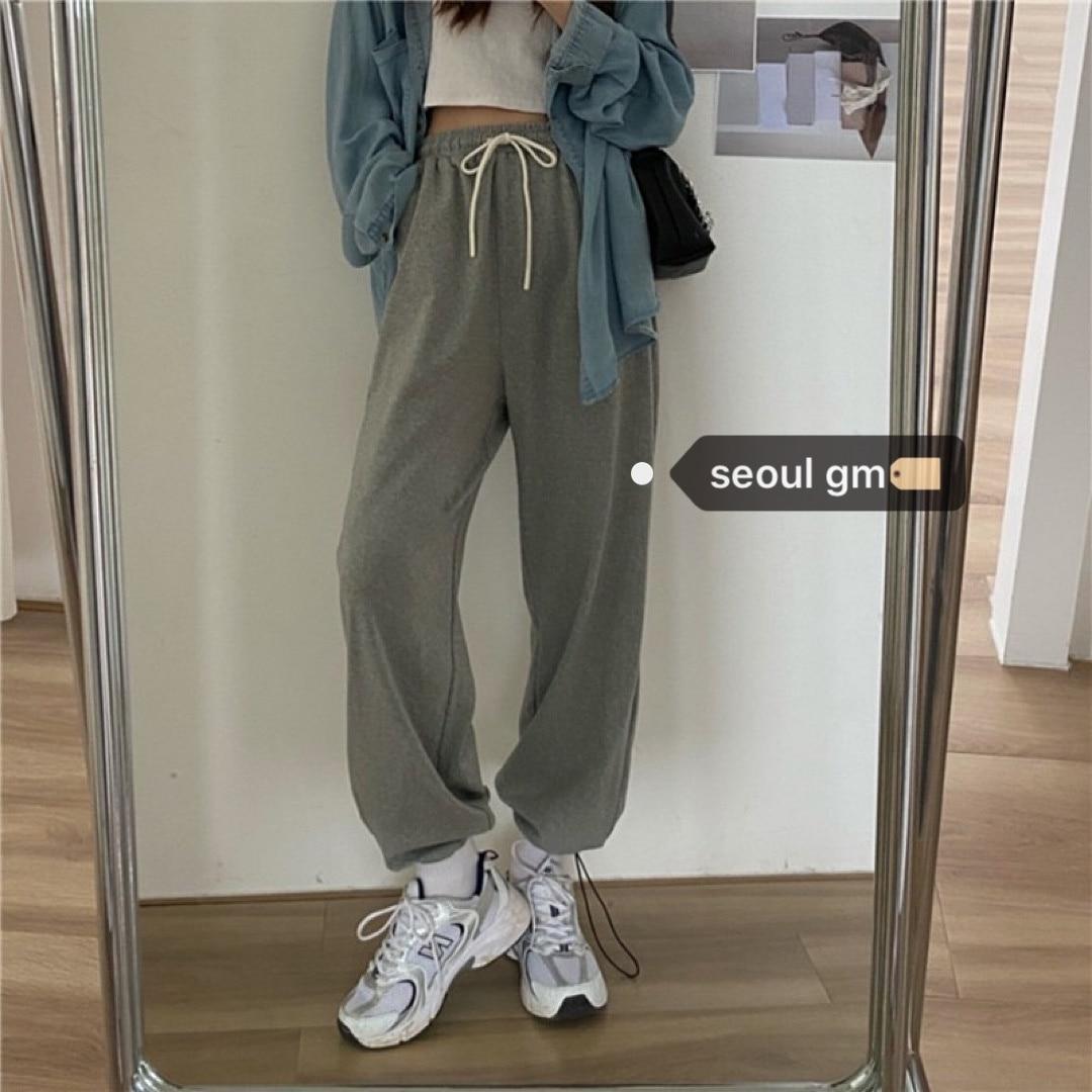 الكورية شيك الحد الأدنى Sweatpants النمط الأجنبي العمر الحد من فضفاضة أرجل ضئيلة عادية