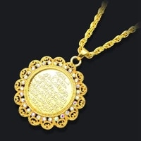 new retro arab muslim islam arah scripture pendant rhinestone necklace fashion religious jewelry