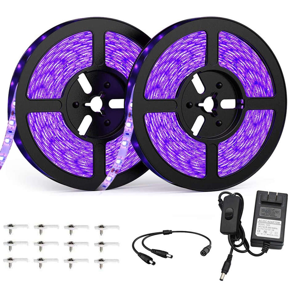 LED UV Black Light Strip Kit 600leds Ultraviolet Lamp Beads 12V Adapter Flexible Blacklight Ribbon for Indoor Glow Party