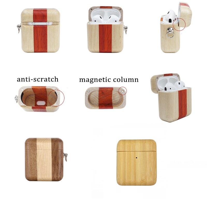 Bx caixa de fone de ouvido de madeira sólida capa para airpods caso luxo sem fio fones caso etui para airpods pro apto para airpods 1 2 3