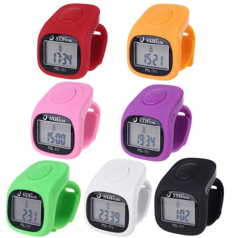 6 Digit Finger Tally Counter 8 Channels with Backlight Time Prayer Silicone Ring Counter