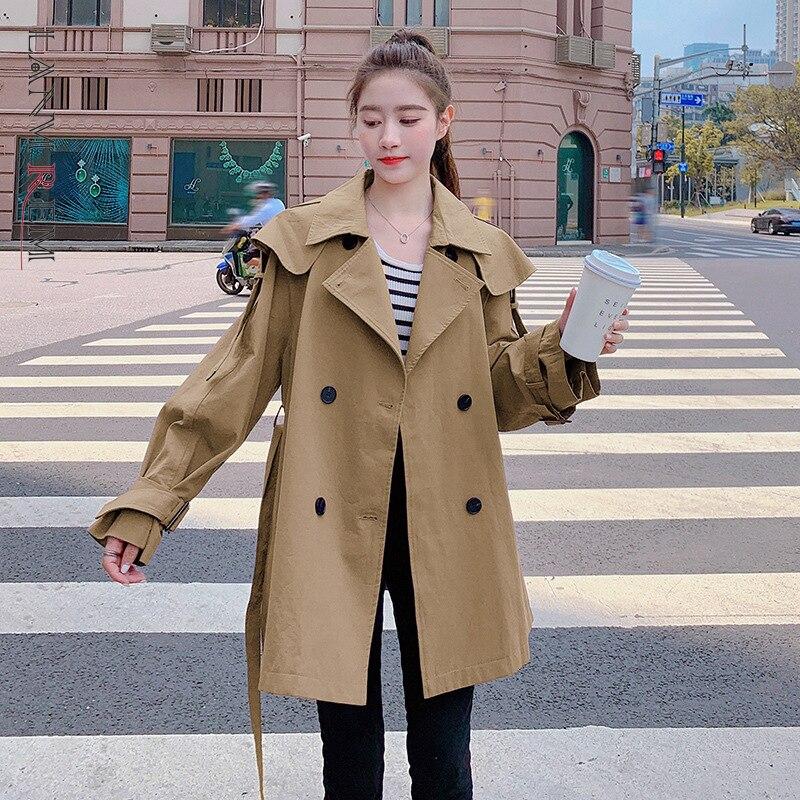 LANMREM جديد لخريف وشتاء 2021 سترة واقية كورية للنساء بأكمام طويلة بلون واحد ملابس خارجية فضفاضة للنساء 2W1761