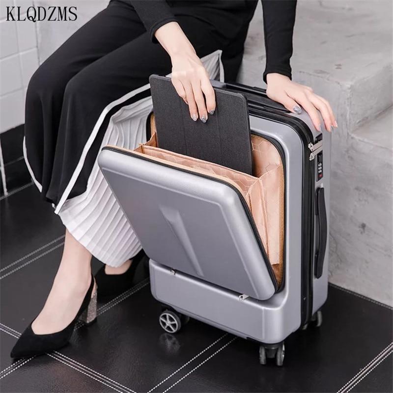 Портативный деловой Дорожный чемодан KLQDZMS 20 дюймов 24 дюйма, чемодан на колесах из АБС-пластика, инновационный чемодан на колесах с спиннером...
