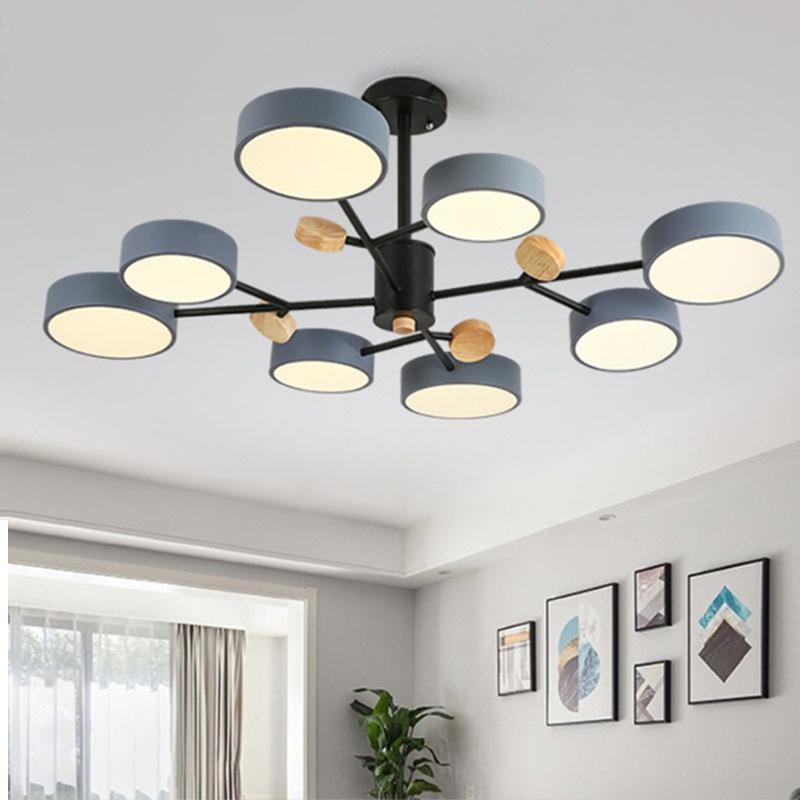 Nordic modern minimalist LED chandelier creative living room macaron lamps wrought iron bedroom hotel wooden lamp