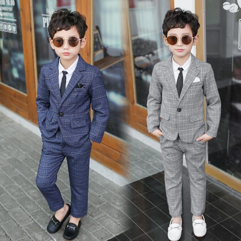 Formal Boys Suits for Weddings Blazers Pants Children Party Clothes Plaid Kids School Costume Gentle