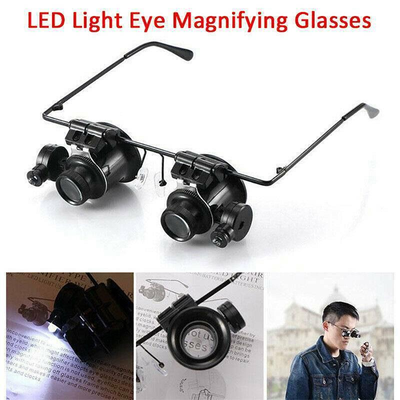 20X Magnifying Magnifier Glasses Magnification Jeweler Watch Repair With Two LED Lights Adjustable Lamp