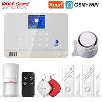 Wolf-Guard     systeme dalarme de securite domestique sans fil  wi-fi  GSM  433MHz  Tuya  controle par application  clavier tactile LCD  11 langues  Kit anti-cambriolage