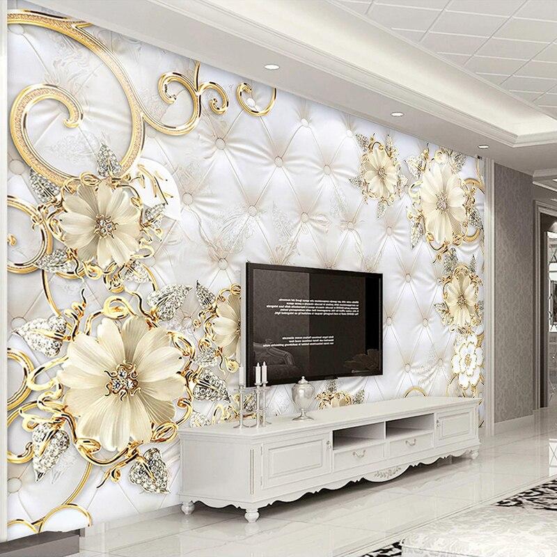 Пользовательские фото обои в европейском стиле 3D стерео цветы ювелирные изделия мягкий рулон фон Настенная роспись для гостиной ТВ диван обои 3D