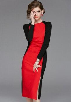 Women's New High-end Retro Dresses Improved Cheongsam Color Contrast Celebrity Hip Long Sleeve Dress Robe de mariée prom dresses