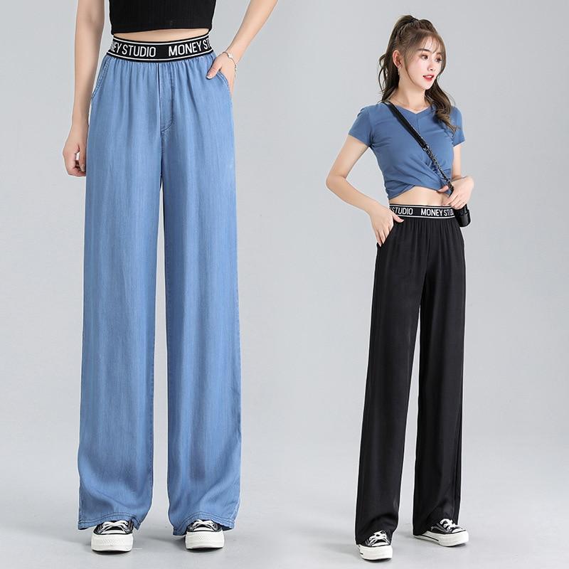 Женские брюки, Летние повседневные тонкие женские брюки с высокой талией в стиле Харадзюку, драпированные шелковые брюки для женщин