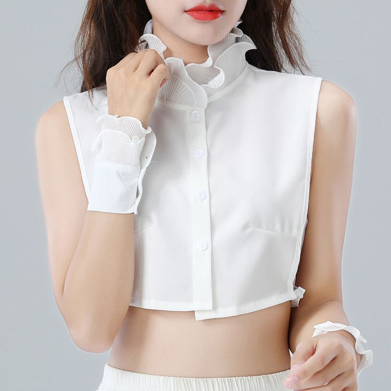 Mujeres dulce capa volantes ágaricos soporte falso cuello botón abajo media camisa 449F
