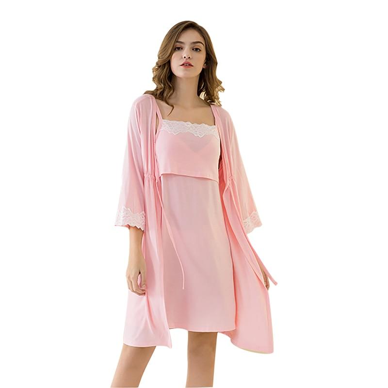 2Pcs/set Maternity Sleepwear Newborn Baby Breastfeeding Nursing Pregnant Nightgown Maternity Nursing Dress Suit With Laces