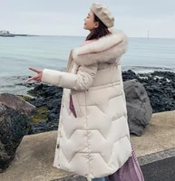 winter jacket parkas 2019 korean women slim down cotton padded jackets coat high quality womens thick warm hooded long coat