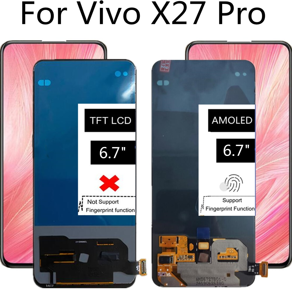 6.7 'lcd ل فيفو X27 برو V1836A V1836T V1838T شاشة الكريستال السائل مجموعة المحولات الرقمية لشاشة تعمل بلمس استبدال