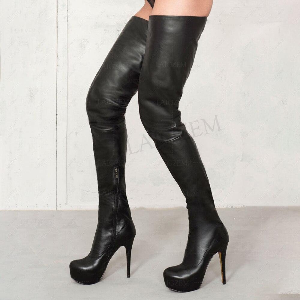 LAIGZEM, botas altas de muslo alto para mujer, zapatos de tacón de aguja para fiesta, Club, escenario, para mujer, Botines con cremallera lateral, Laigzem, talla grande 34-52